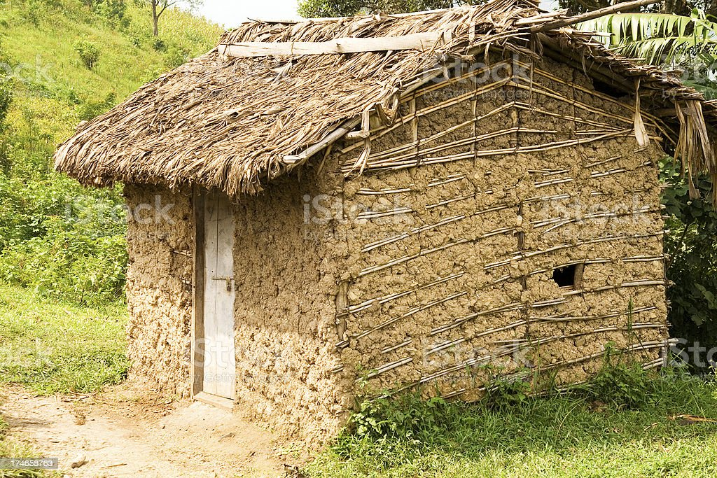 Ugandan thatched building stock photo