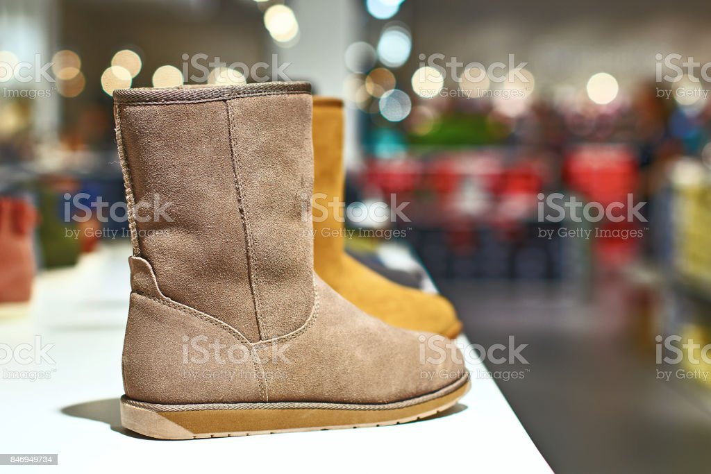 Ugg style boots in a luxury store stock photo
