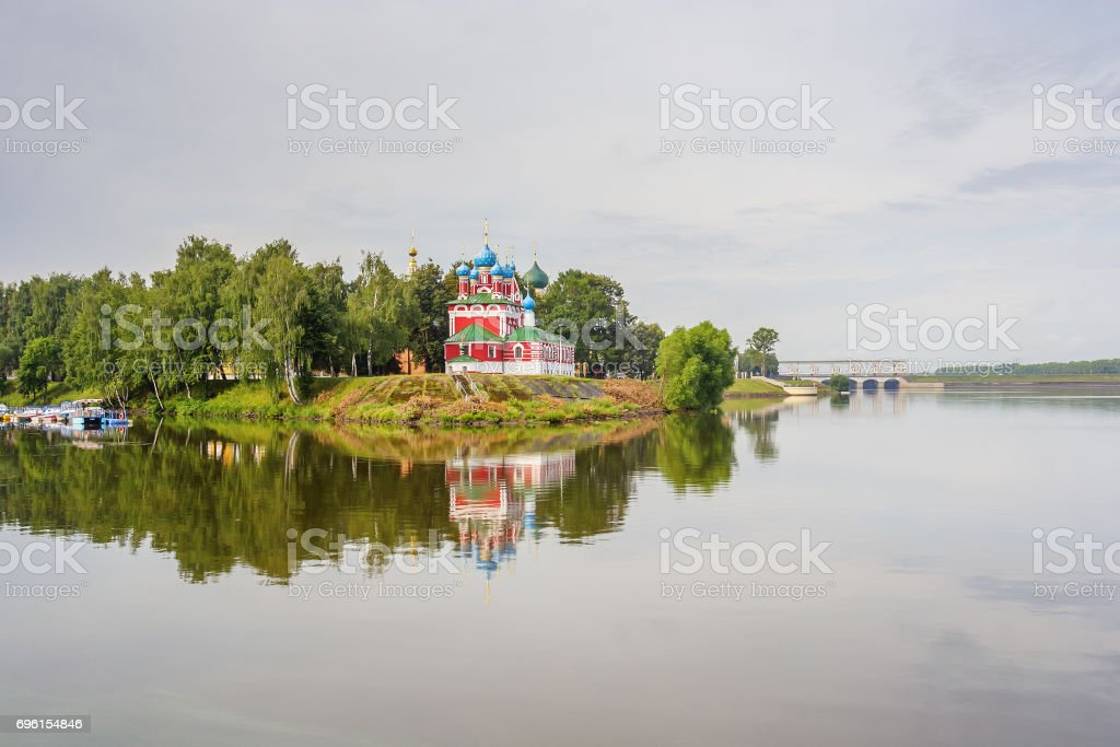 Uglich. Dimitri Church in the blood with reflection, Russia stock photo