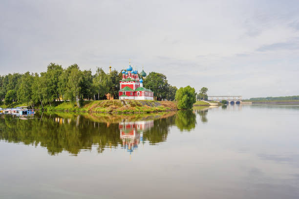 Cтоковое фото Uglich. Dimitri Church in the blood with reflection, Russia