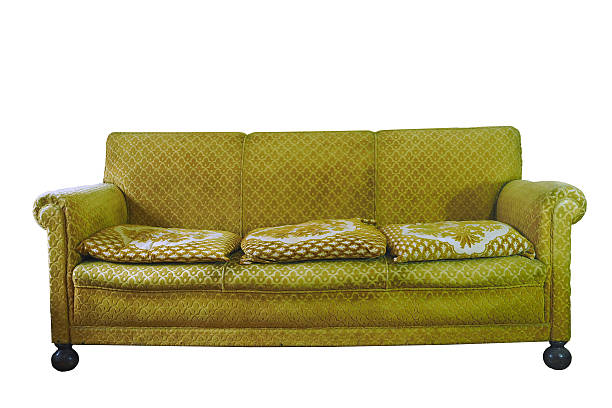 Ugly couch retro stylish yellow armchair isolated on white ugliness stock pictures, royalty-free photos & images