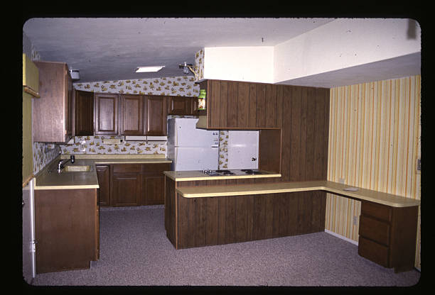 ugly kitchen 70s kitchen ugliness stock pictures, royalty-free photos & images