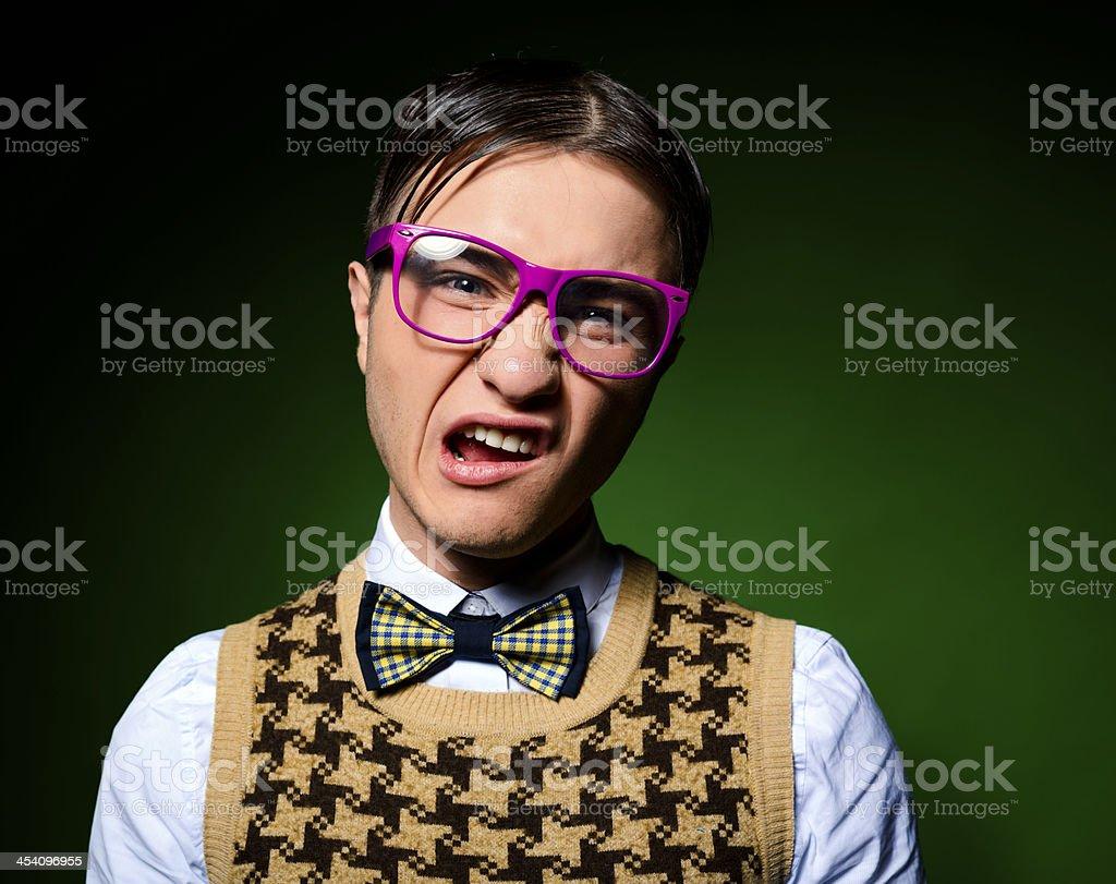 ugly nerd portrait stock photo