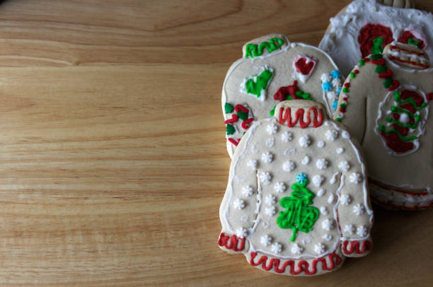 ugly sweater christmas cookie - ugly sweater stock pictures, royalty-free photos & images