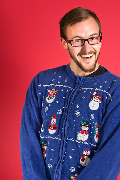 ugly sweater geek - ugly sweater stock photos and pictures