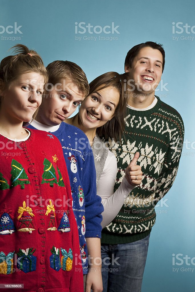 Ugly Sweater Group Happy royalty-free stock photo