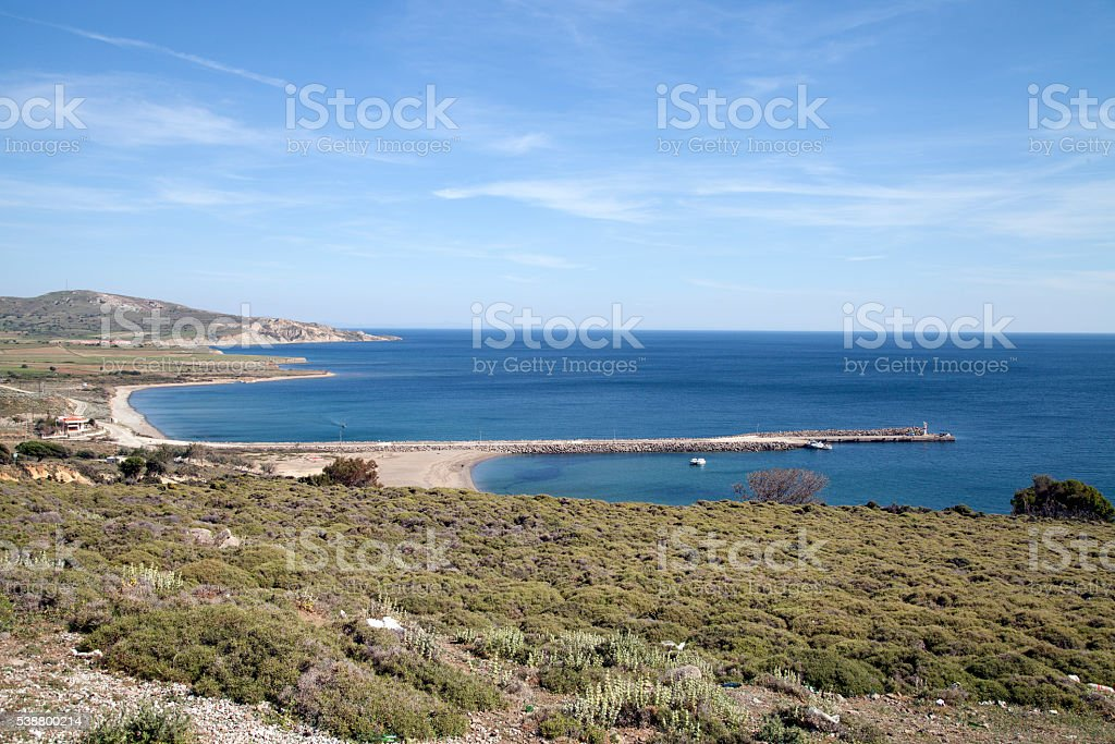 Ugurlu Beach in Gokceada stock photo