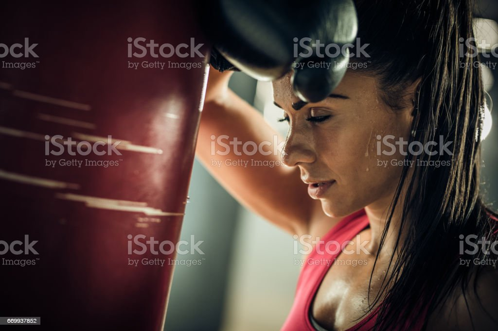 Uh, I am so exhausted! stock photo