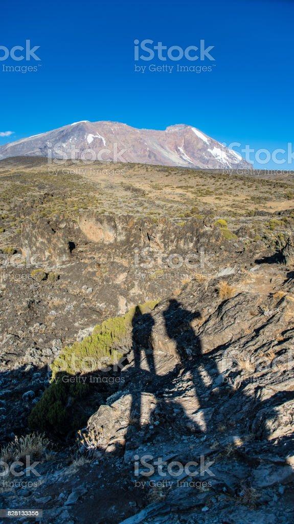 Uhuru Peak view from Kilimanjaro Machame route trail stock photo