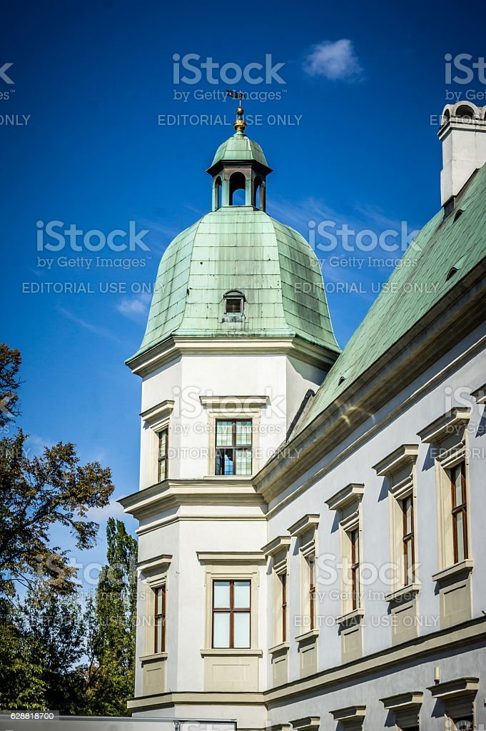 Ujazdow Castle, tower with green domed roof in Warsaw stock photo