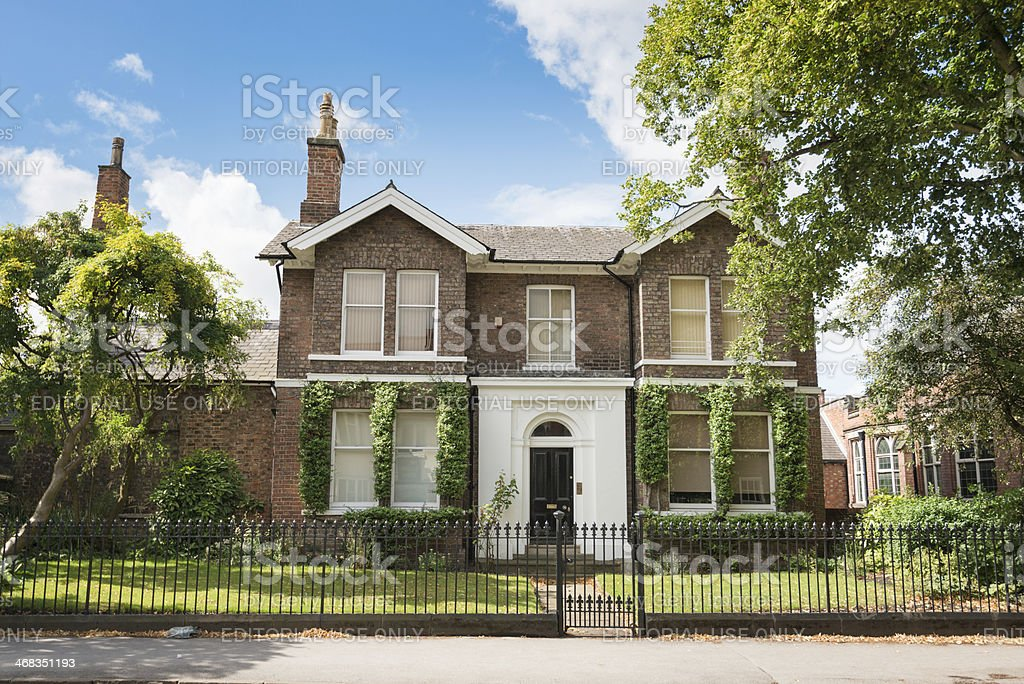 Uk british facade of brick house in york royalty-free stock photo