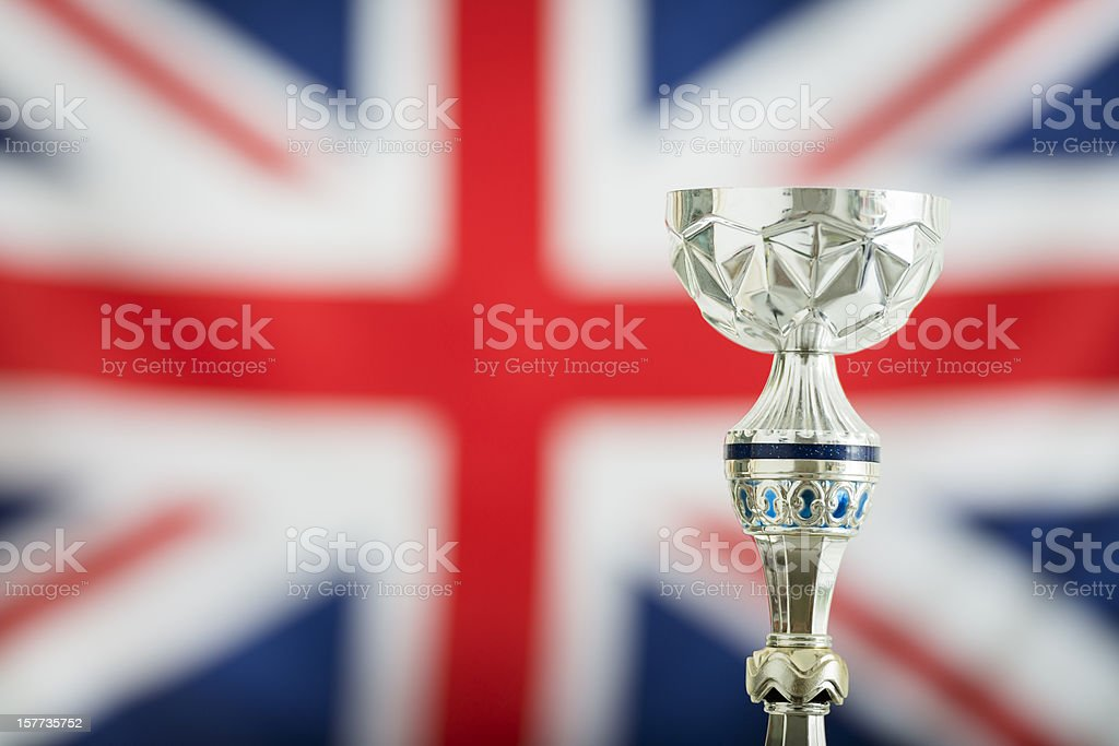 Uk british flag with the winner trophy cup royalty-free stock photo