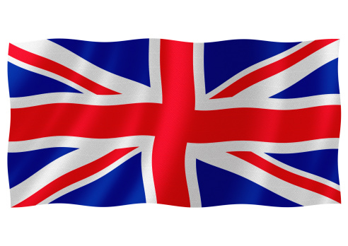 Flag of united kingdom waving with highly detailed textile texture pattern