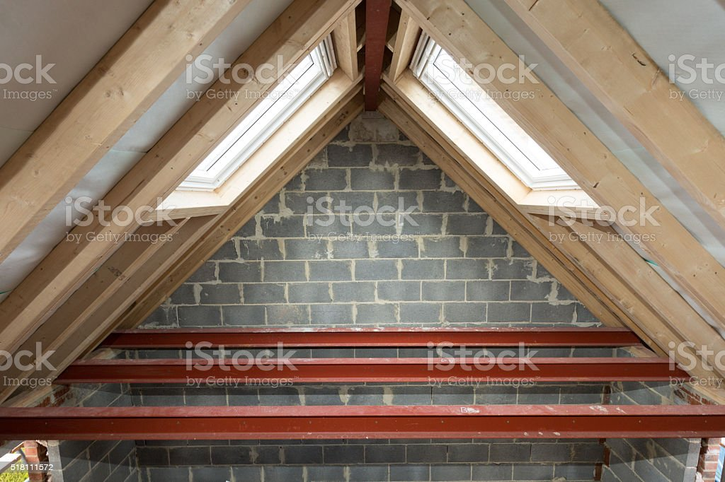 Uk New Build Domestic House Steel Roof Beams In Loft Stock Photo Download Image Now Istock