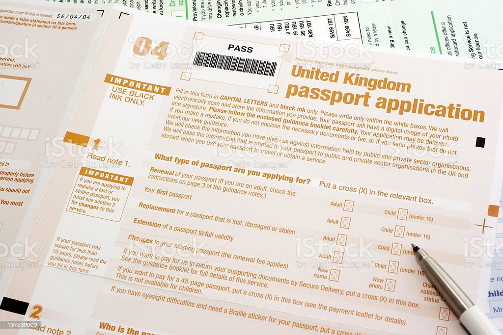 Uk Passport Application Form Stock Photo  More Pictures Of
