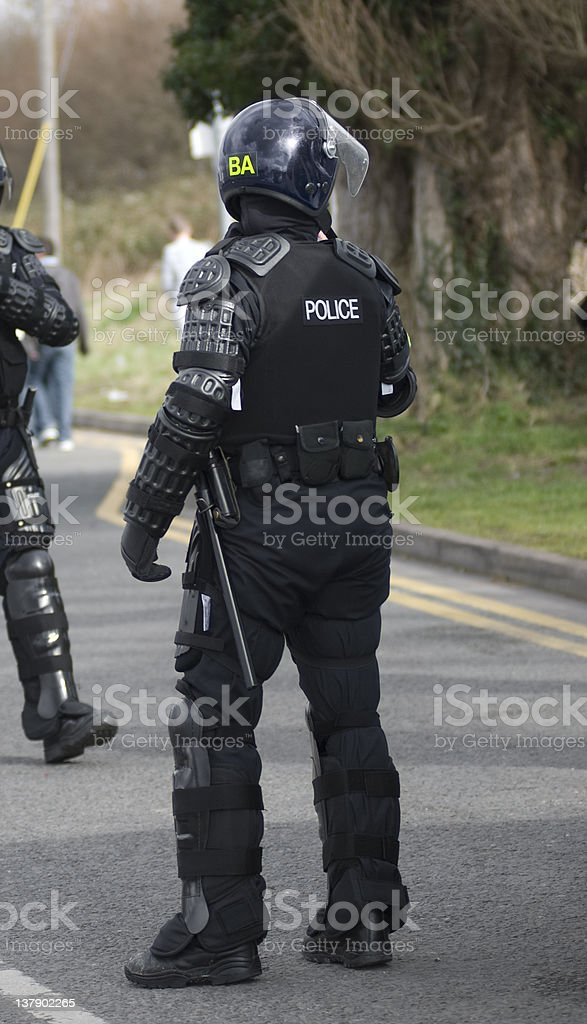 Uk Police Officers in Riot Gear royalty-free stock photo
