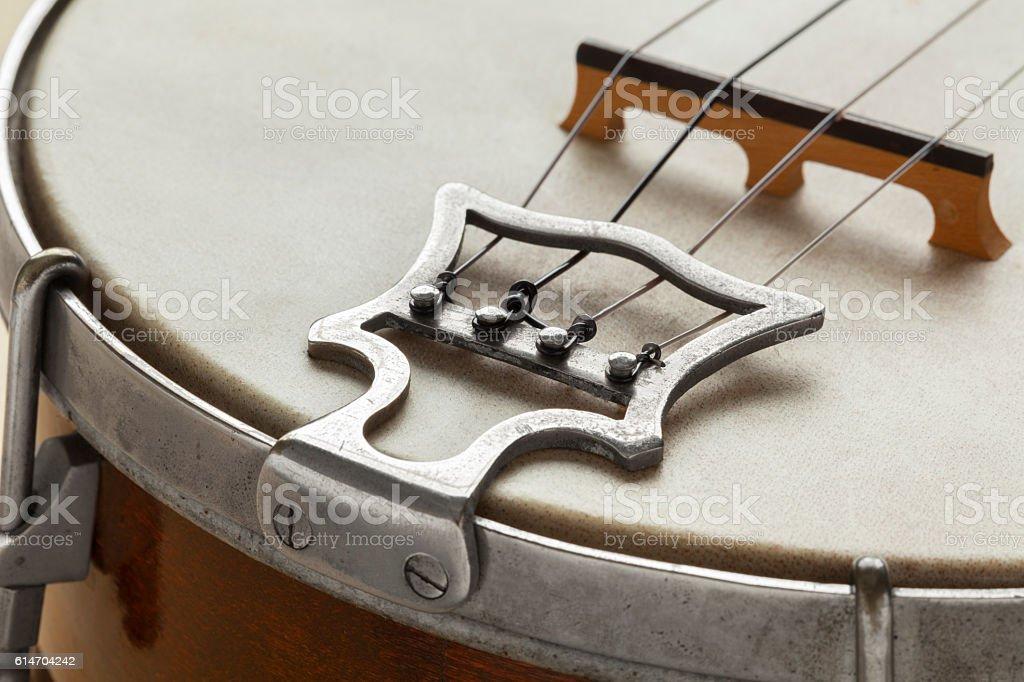 Ukelele banjo tailpiece stock photo