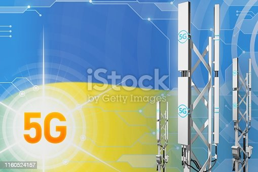 istock Ukraine 5G industrial illustration, big cellular network mast or tower on hi-tech background with the flag - 3D Illustration 1160524157