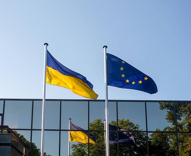 Ukraine et l'Europe flags - Photo