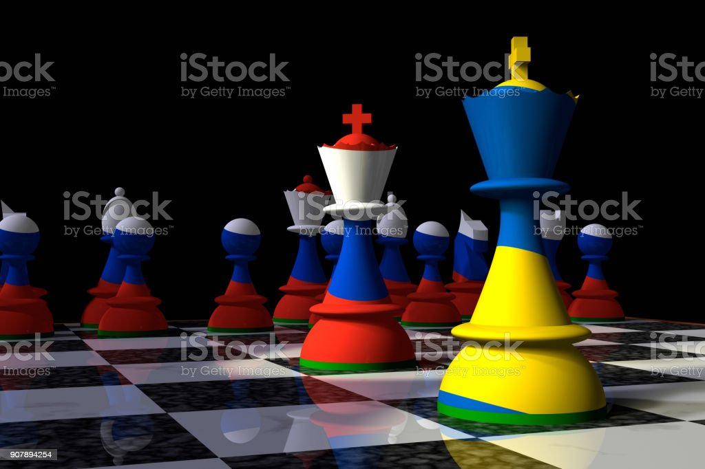Ukraine and Russia Chess Standoff stock photo