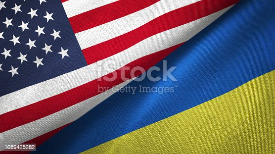 Ukraine and United States flags together realtions textile cloth fabric texture