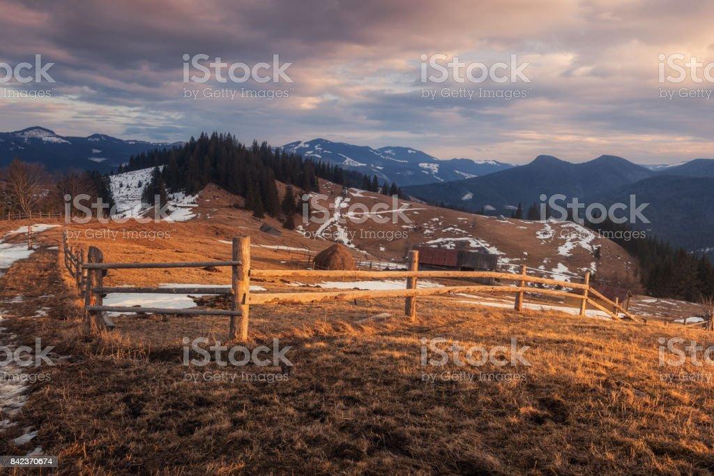 Ukraine. Carpathians. Dzembronya. Winter evening poloniny Stepansky stock photo