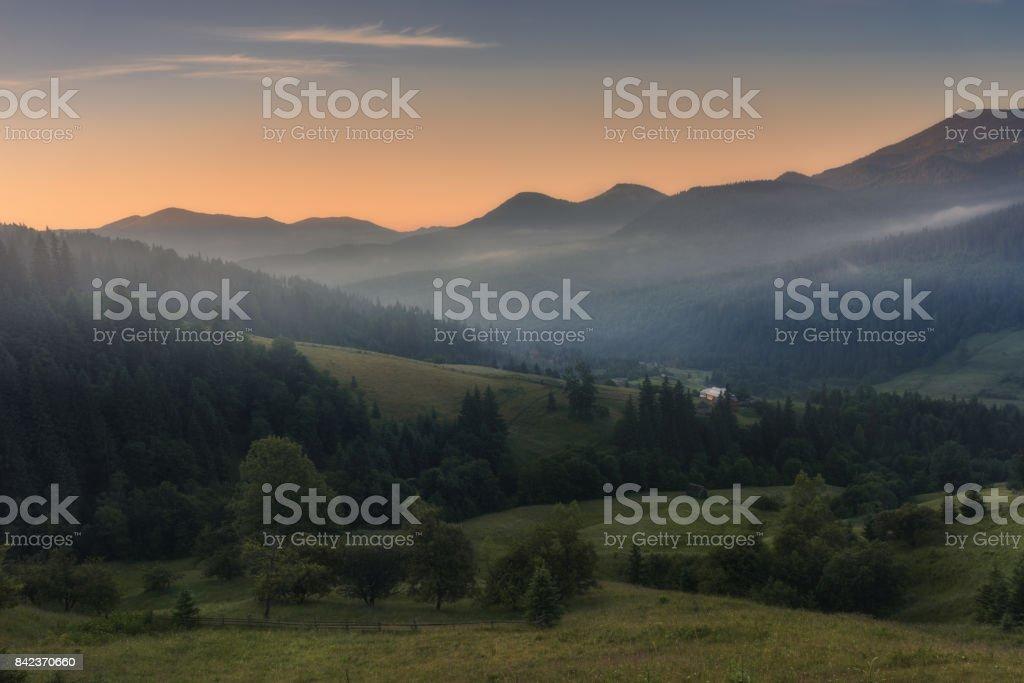 Ukraine. Carpathians. Summer morning at the village Dzembronya stock photo