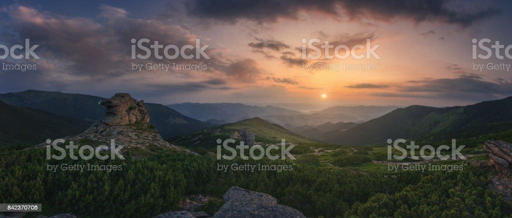 Ukraine. Carpathians. Sunrise Eared stone stock photo