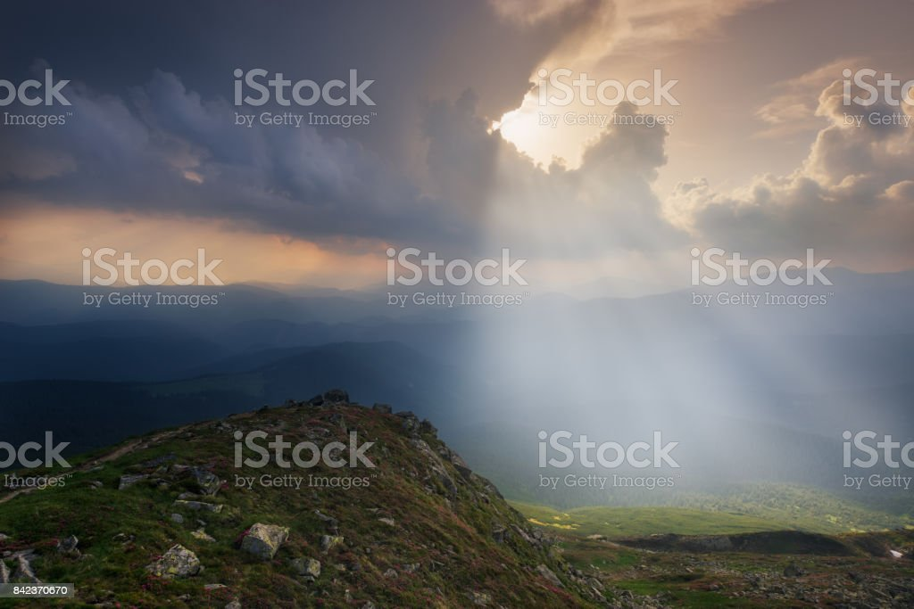 Ukraine. Carpathians. The evening light at mount Pop Ivan stock photo