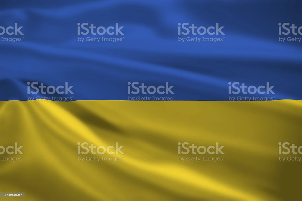 Ukraine flag blowing in the wind stock photo