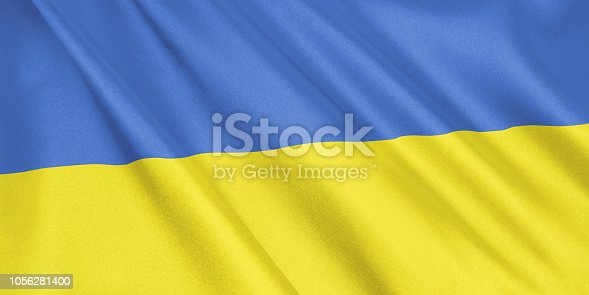 1056280906 istock photo Ukraine flag waving with the wind, wide format, 3D illustration. 3D rendering. 1056281400