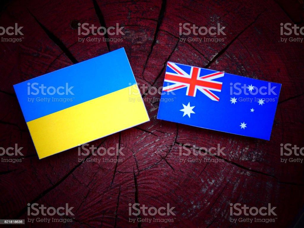 Ukraine flag with Australian flag on a tree stump isolated stock photo