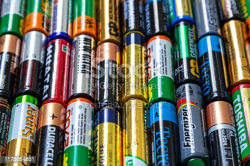 istock Ukraine. Khmelnitsky. September 14, 2018. Closeup of pile of used alkaline batteries. 1175054651