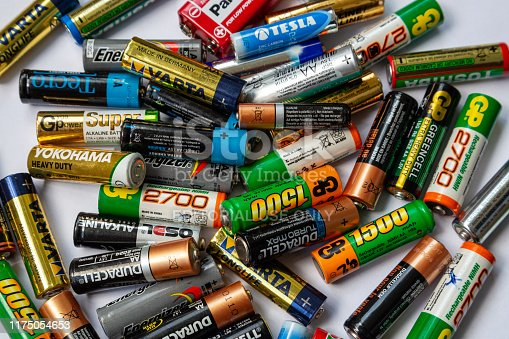 istock Ukraine. Khmelnitsky. September 14, 2018. Closeup of pile of used alkaline batteries. 1175054653