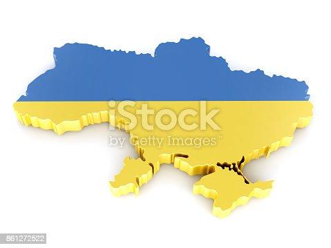 istock Ukraine Map. 3D Illustration 861272522