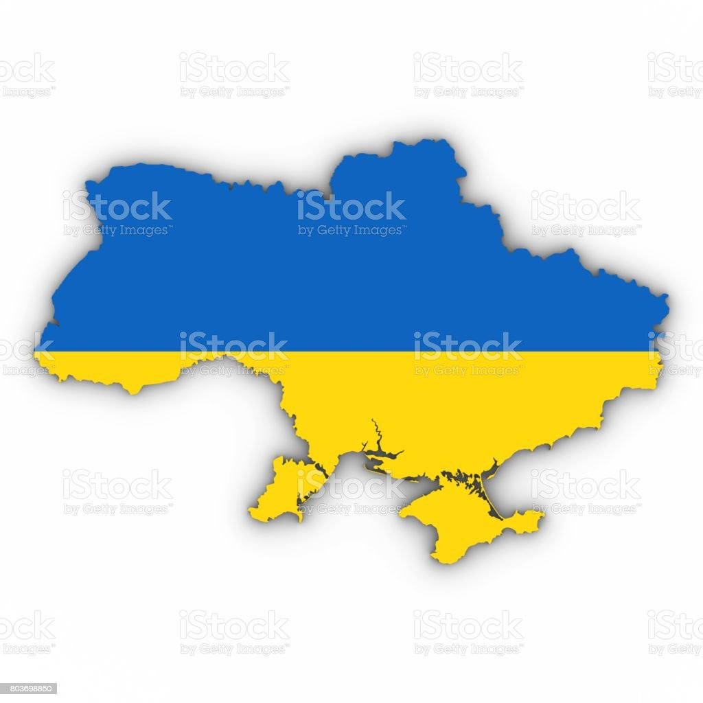 Ukraine Map Outline with Ukrainian Flag on White with Shadows 3D Illustration stock photo