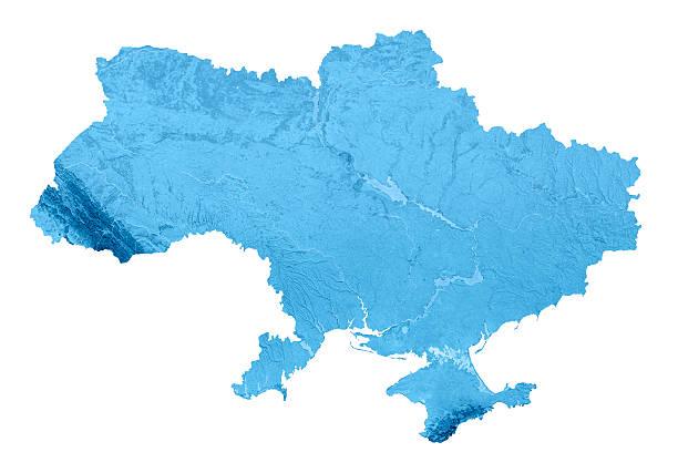 Ukraine Topographic Map Isolated stock photo
