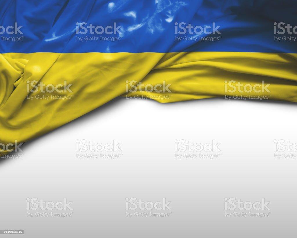 Ukraine waving flag stock photo
