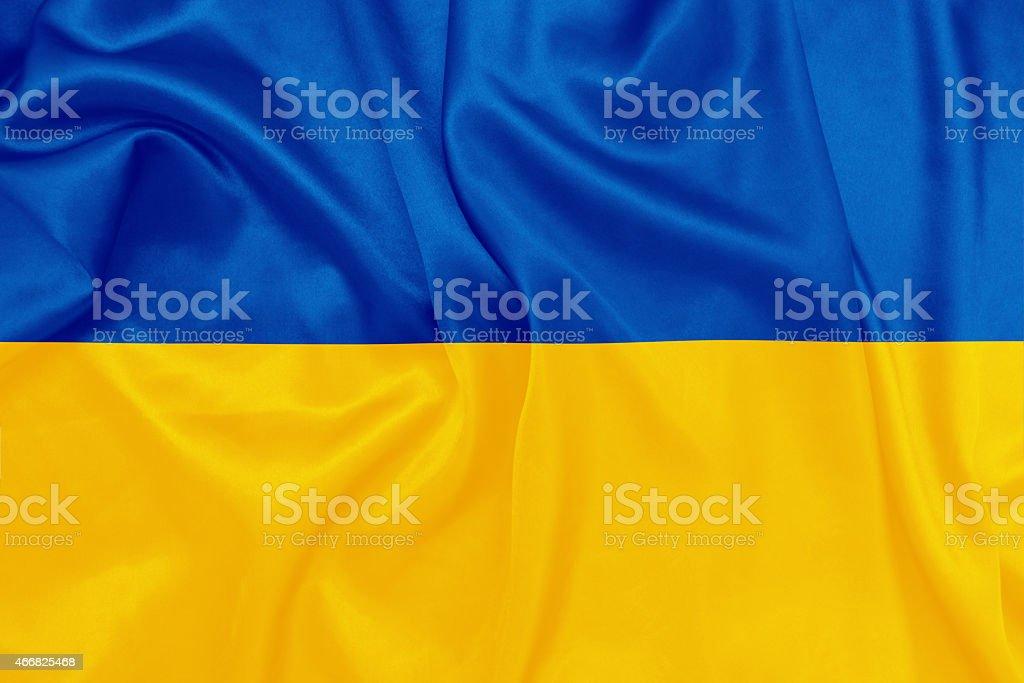Ukraine - Waving national flag on silk texture stock photo