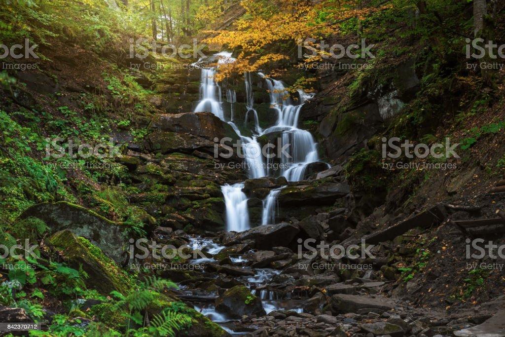Ukraine. Zakarpattia. Autumn Waterfall Shipot stock photo