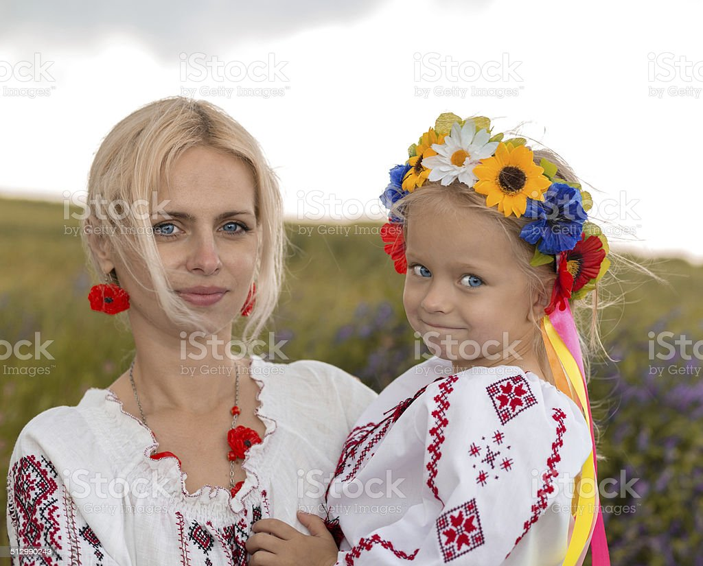 Ukrainean mother and her daughter stock photo
