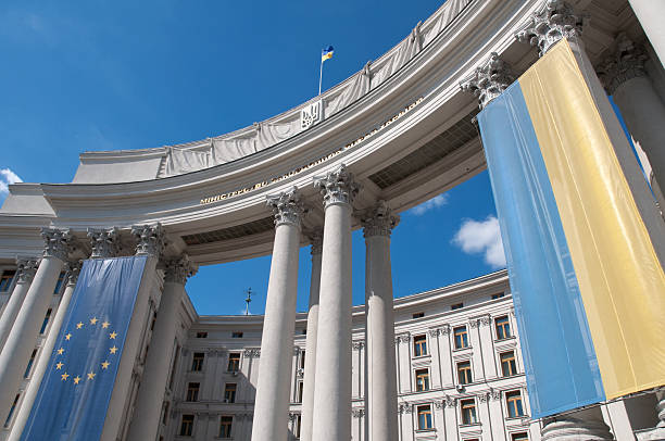 Ukrainian and EU flag on Kiev Ministry of Foreign Affairs stock photo