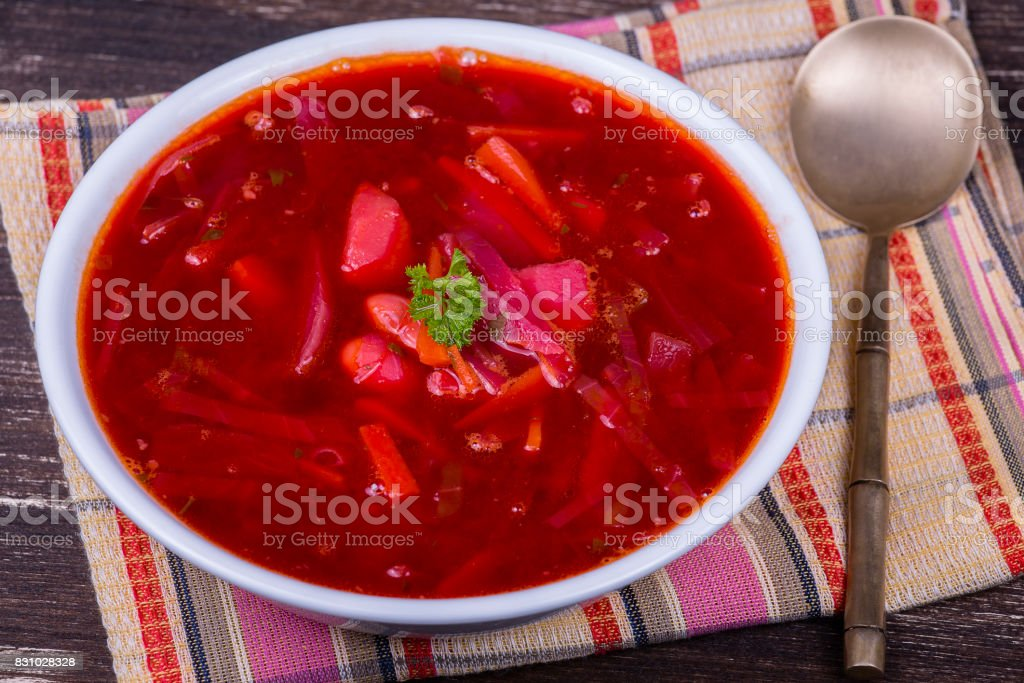 Ukrainian and russian national food - red beet soup, borscht stock photo