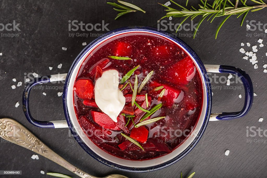 Ukrainian and Russian National vegetable soup, red borsch in pot stock photo