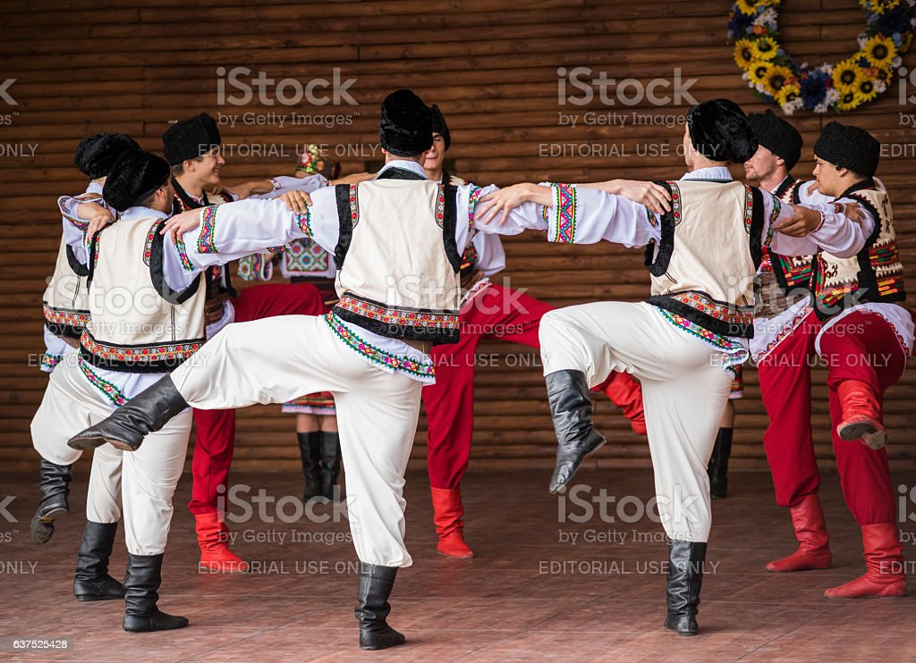 Ukrainian boys dancing hopak in costume stock photo