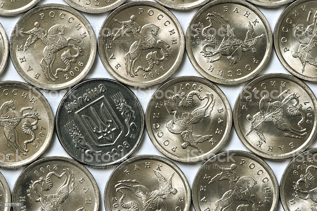 ukrainian coin among russian coins royalty-free stock photo
