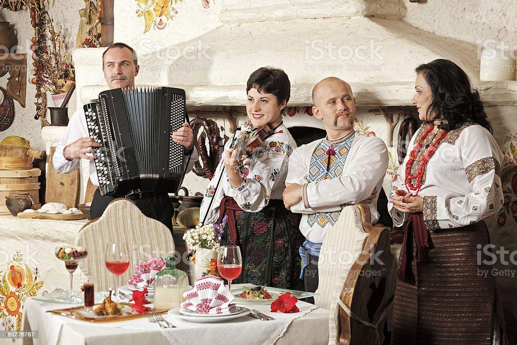 Ukrainian ethnic music band concert stock photo