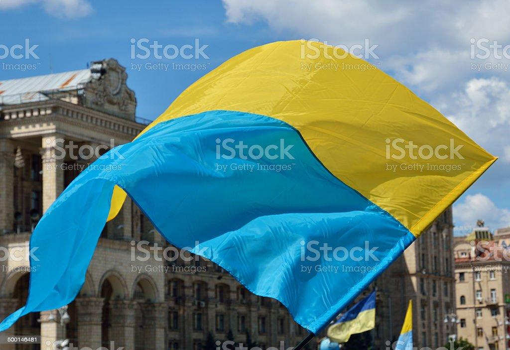 Ukrainian flag flying stock photo