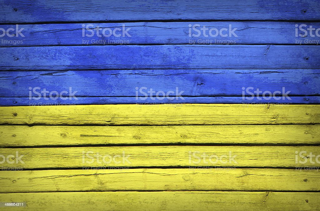 Ukrainian flag painted on wooden boards royalty-free stock photo
