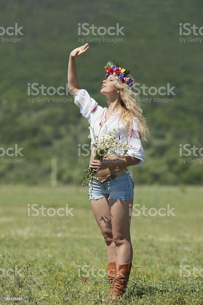 Ukrainian girl in field royalty-free stock photo